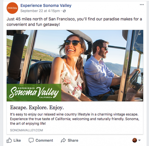 Experience Sonoma Valley building BrandPromise with Facebook Fans